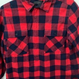 J Crew Buffalo Plaid 3/4 Zip Shirt Sz Small